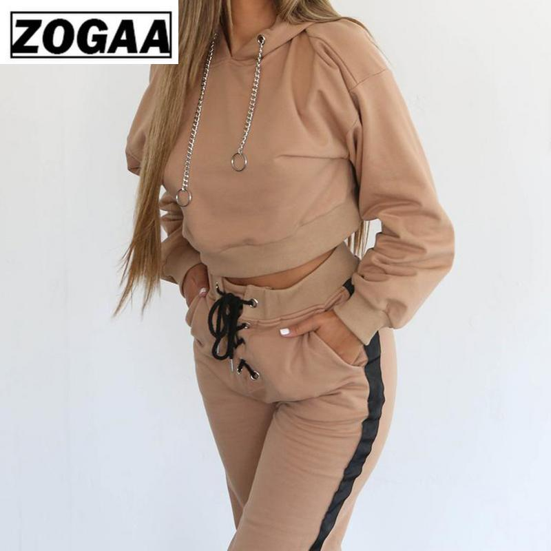 New Pant Tops 2pcs Set Women Ladies Tracksuit Crop Hoodies Sweatshirt Pants Sets Leisure Wear Casual Suit Zipper Zogaa 2019