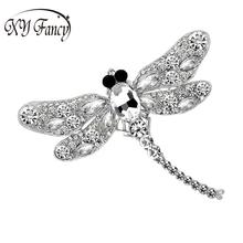 XY Fancy New Fashion Dragonfly crystal jewelry shining brooch bouquet Vintage beautiful Brooches For women Xmas accessories zk30