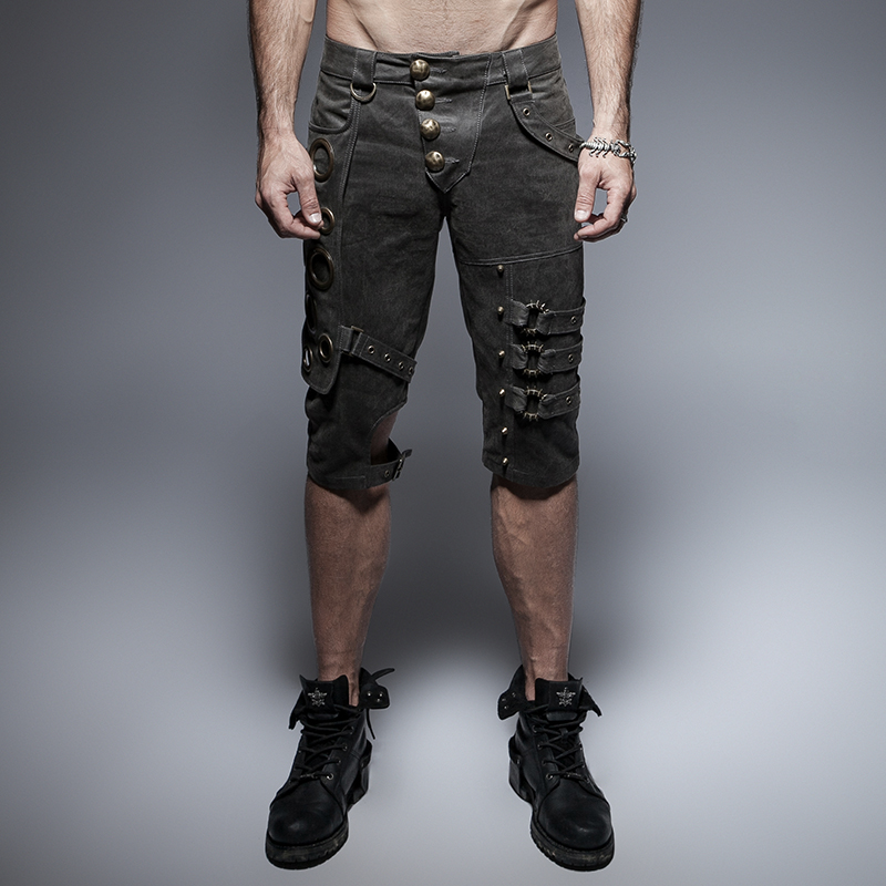 Steampunk Summer Unique Design Men's Shorts Punk Gothic Washed Old Casual Shorts