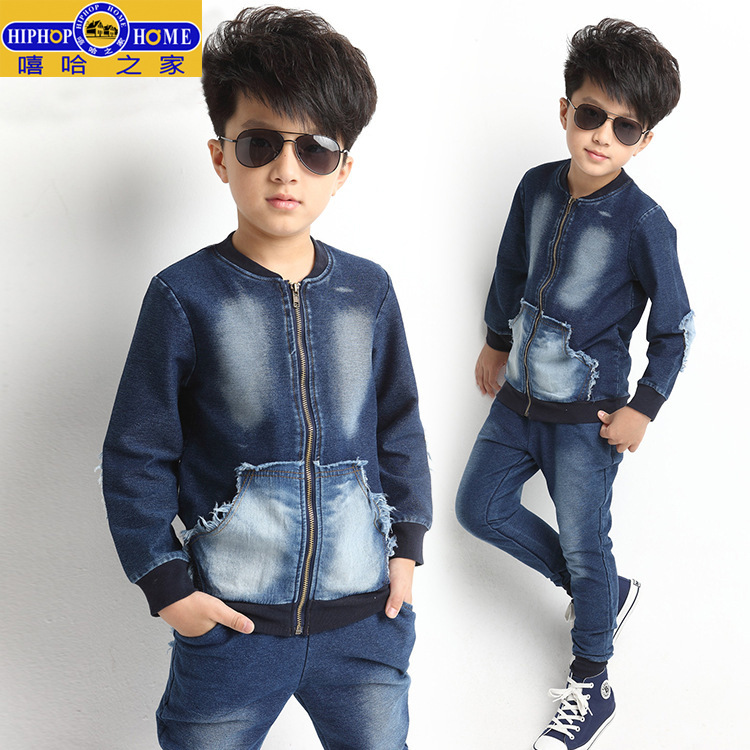 Childrens Kids Boys and Girls Leisure Sports Knitted Fabric Denim Suit ClothesChildrens Kids Boys and Girls Leisure Sports Knitted Fabric Denim Suit Clothes
