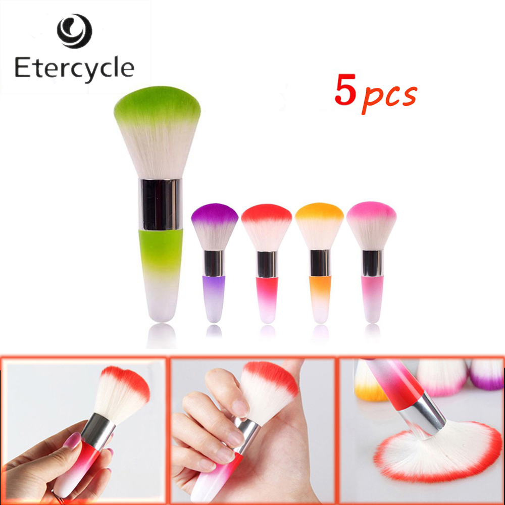 5 Pcs Professional Face Blush Brusher Makeup Cosmetic Soft Brush dropshipping 5 color 12pcs professional soft cosmetic face brush finishing powder blush brush sets for women with red cloth bag