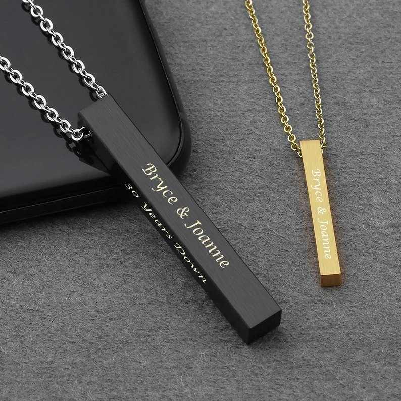Vertical Bar Necklace Personalized Name Necklace Birth Date Coordinates Mantra Pendant For Women Men