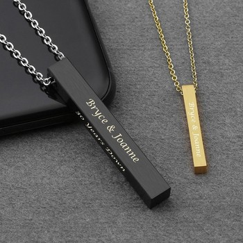 Vertical Bar Necklace Personalized Name Necklace Birth Date Coordinates Mantra Pendant For Women & Men