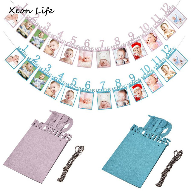 14X23cm Kids Birthday Gift Decorations 1-12 Month Photo Banner Monthly Photo Wall Photo Folder Monthly Photo Wall