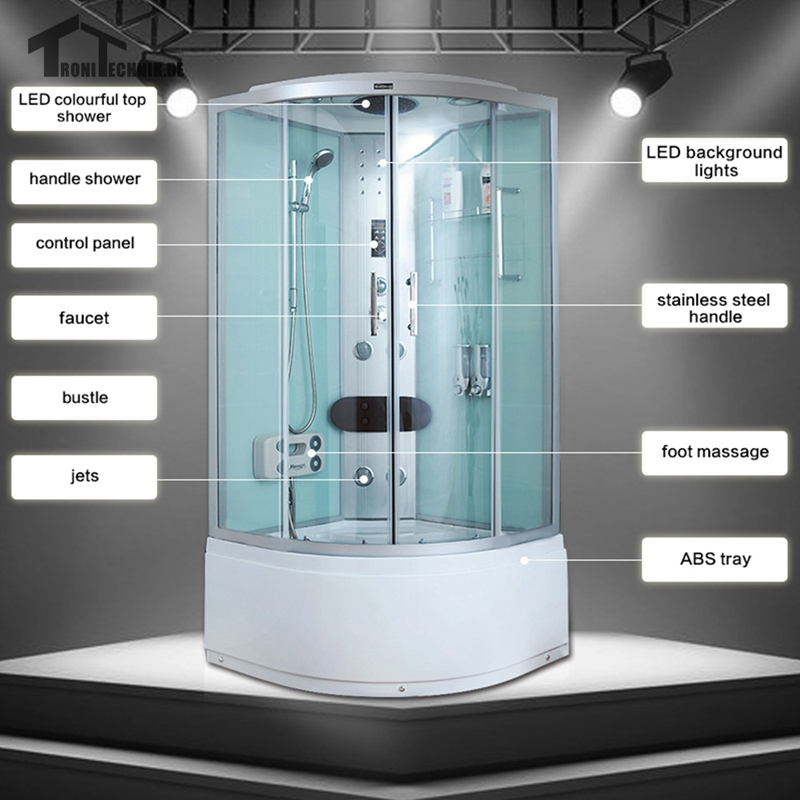 90cm white Bath Cabin Room hydro NO Steam Shower Cubicle Enclosure ...