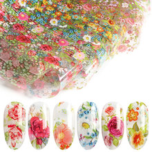 HNUIX 10 colours Nail Leaf Stickers Varnish Mix Rose Flower Transfer Foil Nails Decal Cursors For Nail Art Decoration Manicure D fwc nail stickers on nails blooming flower stickers for nails lavender nail art water transfer stickers decals