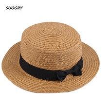 New Fashion Flat Sun Hat Womens Summer bow Straw Hats For Women Beach Headwear 7 Colors chapeau femme Gift