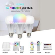 Miboxer 9W RGB+CCT LED Bulb FUT012 E27 lamp 110V 220V Full Color Remote Control Smart Bulb WiFi Compatible 4-Zone Remote