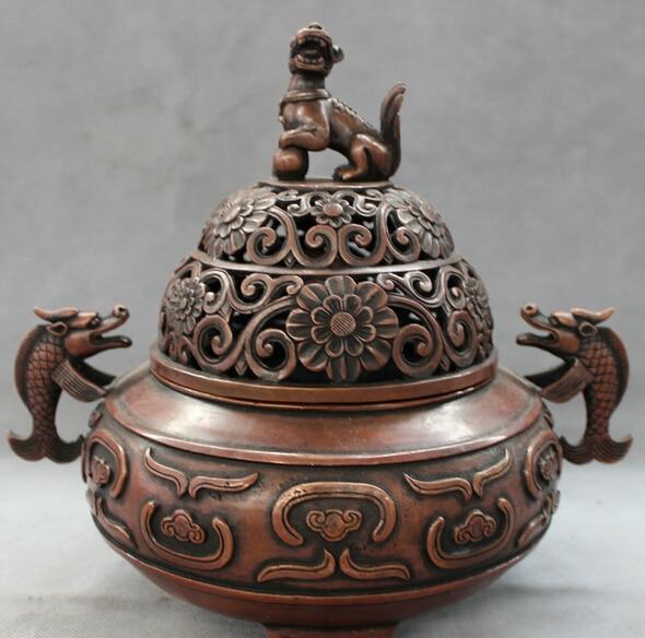 "JP S0608 11"" Chinese Bronze Lion Dragon Head Fish Statue Box Flower Incense Burner Censer Pair censer burner censer incense burner censer incense - title="