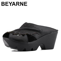 BEYARNE Platform Women Sandals Shoes Woman Summer Wedge Sandals Women Color Black Red Slippers Sandals Mother
