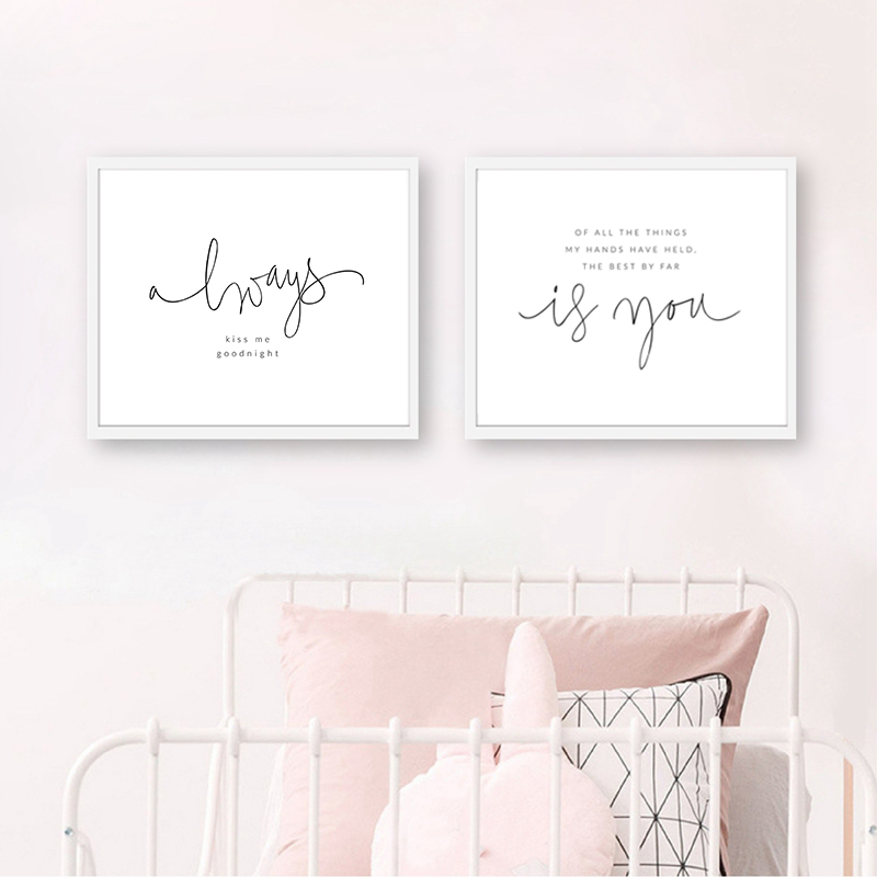 Always Kiss Me Goodnight Print Master Bedroom Wall Art Decor Nursery Poem Quote Art Canvas Painting Baby Room Wall Decoration image