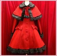 К Кусина Анна классический Готическая Лолита платье меховые Рождество зимние платья для Для женщин пальто теплое Косплэй костюм на заказ