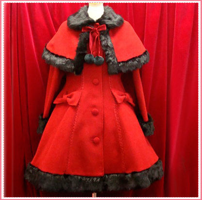K Kushina Anna Classic Gothic Lolita Dress furry ball Christmas Winter Dresses for Women Coat Warm Cosplay Costume Custom-made