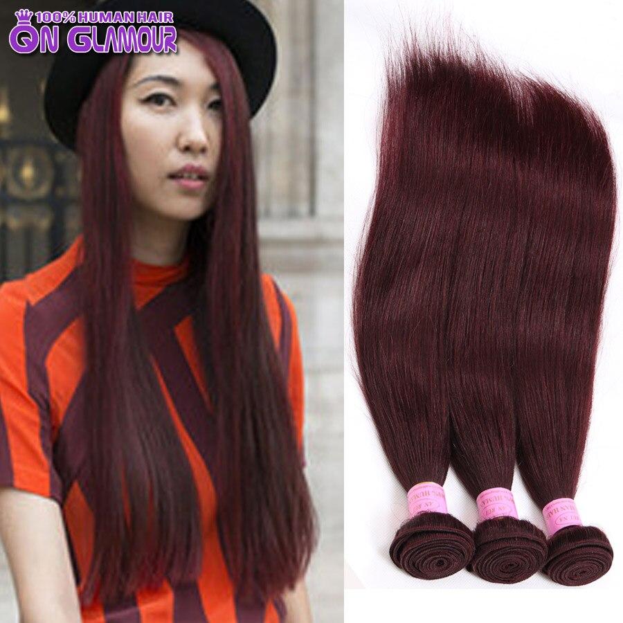 Dark Red Human Hair Weave Hair Extensions