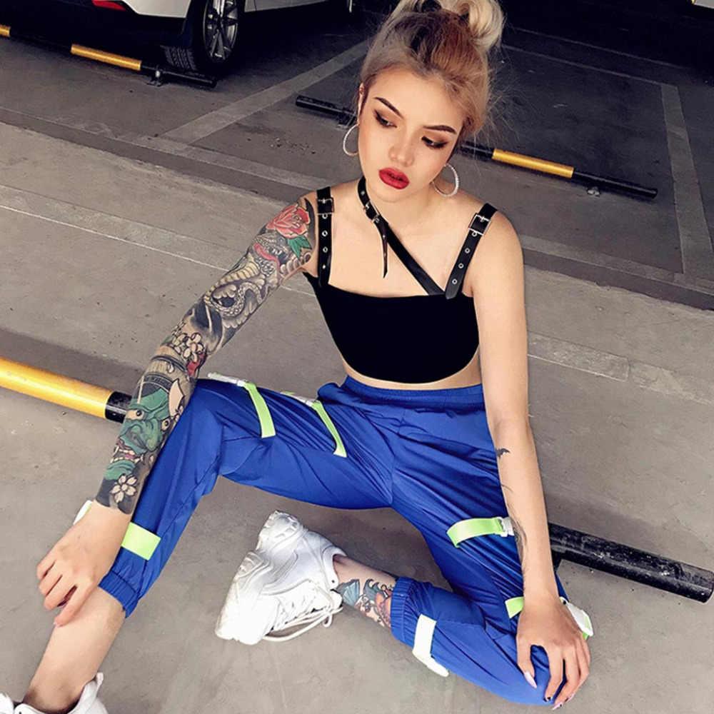 ランニングトップ女性ストリートアートのネック襟オフショルダーバックレス面取りスリング野生野生スタイルセクシーな黒無地