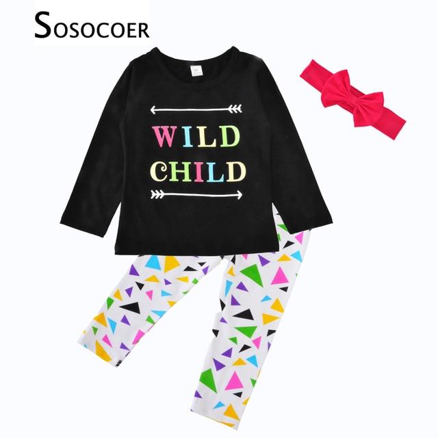 Sosocoer Girl Clothing Sets Long Sleeve Wild Child Arrow T Shirts