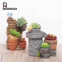 Roogo Flower Pot Vintage Europe Mini Succulent Planter Pots Bionic Garden Pots Home Decor Balcony Decorations Desktop Gift