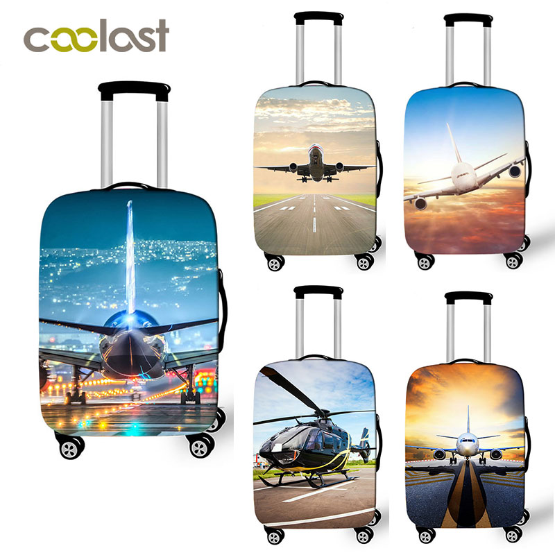 Airplane Design Luggage Cover For 18-32 Inch Trolley Case Bag Aircraft Helicopter Suitcase Protective Covers Travel Accessories