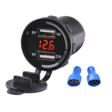 Car Motorcycle 12V 3.1A Dual USB Charger Socket Voltage Voltmeter Switch Panel Auto Charger With Voltage Meter Power Adapter
