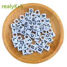 500 1000 2600pcs/bag 6*6MM Cube Acrylic Letter Beads White with Black Printed Mixed A-Z Alphabet Initial Plastic Square