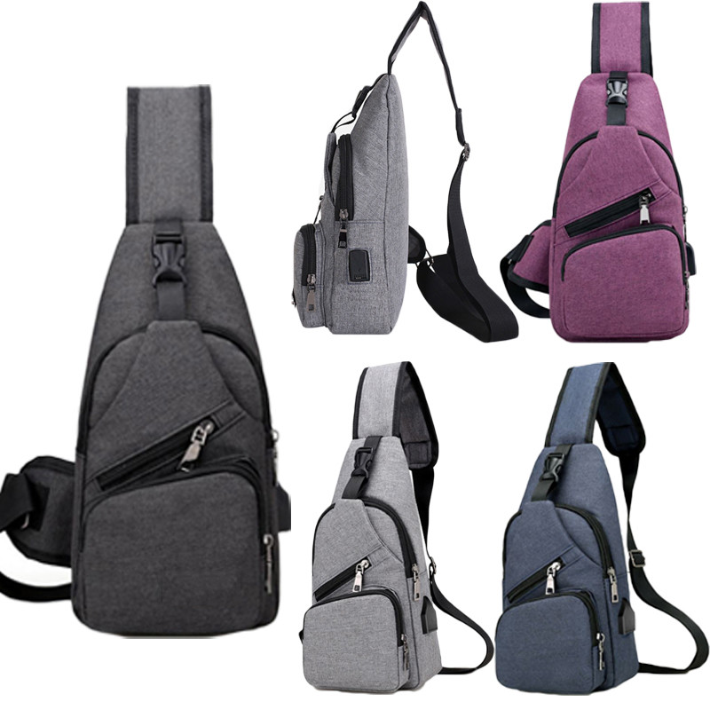 NoEnName Anti-theft Mens USB With Charger Port Outdoor Sport Chest Bag Crossbody Shoulder Bag Men Women Backpack Messenger Pack