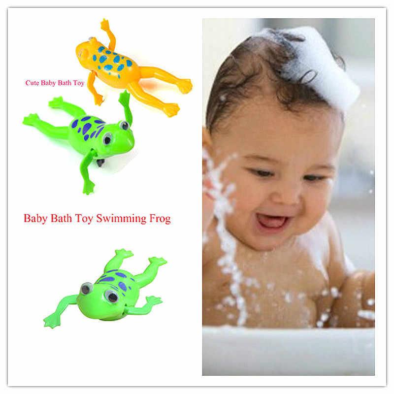 Venta caliente movimiento piscina ranas relajarse un reloj rana de juguete de baño del bebé de juguete de peluche para los niños regalo de los niños
