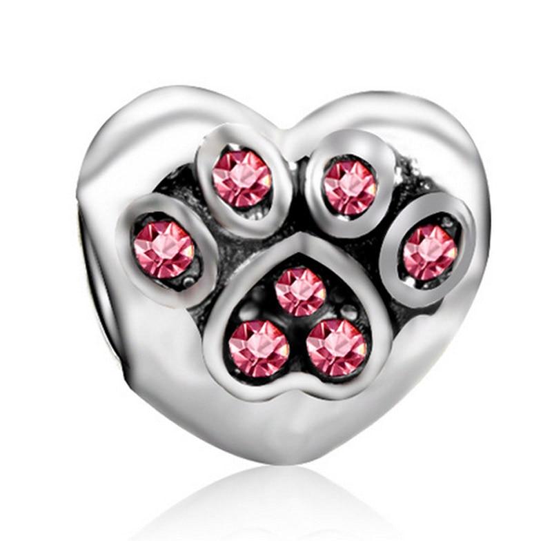 Cute Dog Paw Pink Crystal Rhinestone Big Hole Beads fit Pandora Charm Bracelets DIY Simple Necklace Charms