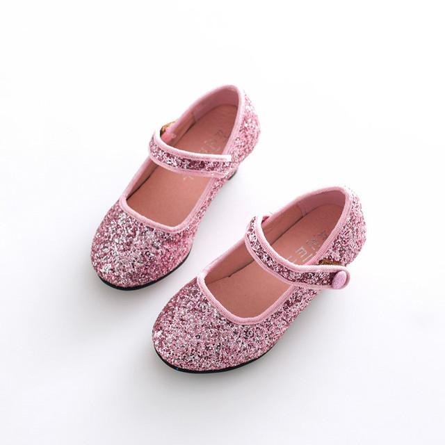 L & D Niñas Zapatos de Baile de Tacón Alto, marca Muchacha de Los Niños Brillo Solos Zapatos, plástico Suave Cuero Zapatos de Los Niños Niñas, Fits2 ~ 6 Años