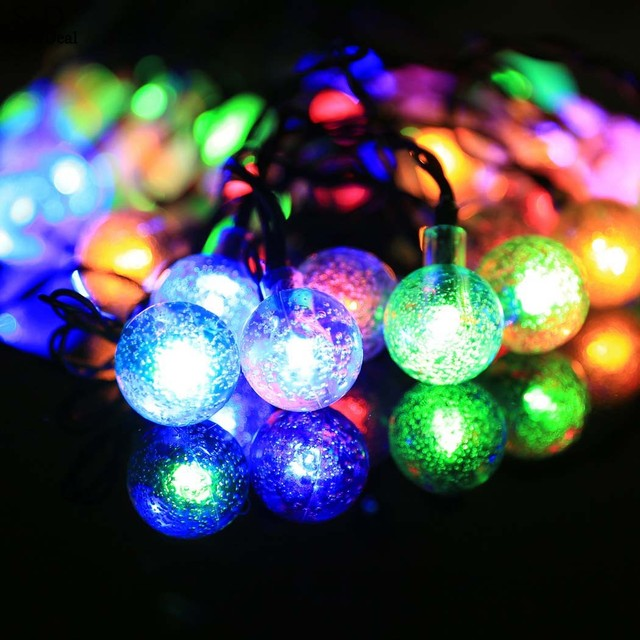 5m 30 led multi color string lights solar power bulb outdoor party christmas new years