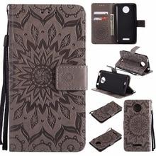 купить Luxury Sun Flower Wallet PU Leather Case For Motorola Moto G2 G4 G5 G6 Plus X Style Shockproof Book Flip Cover Skin Phones Cases дешево