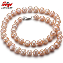 Feige Special offer Baroque 7-8MM Pink Natural Freshwater Pearl Necklace for Women Classic style Fine Jewelry Colar Bijoux