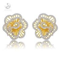 Eulonvancharm trendy Wedding 925 sterling silver earrings for Noble Generous women girl Best Sellers White Cubic Zirconia S 3793