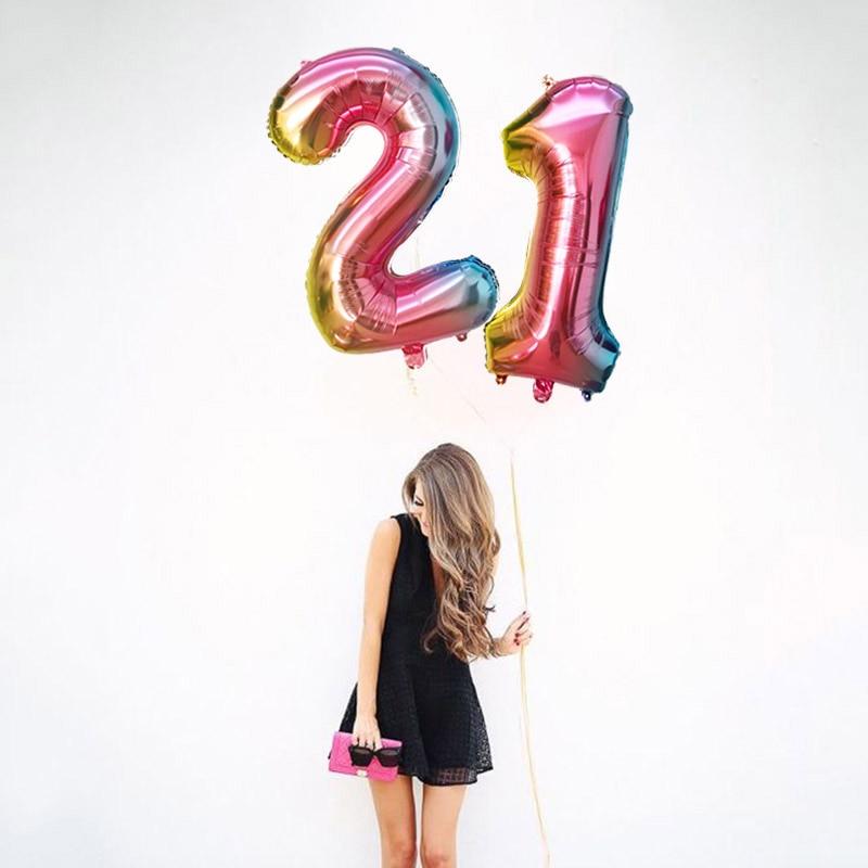 16/32 дюйма номер алюминиевый воздушный шарик из фольги в форме розового цвета: золотистый, серебристый цифры рисунок воздушный шар для детей и взрослых, украшения для свадьбы и дня рождения вечерние поставки-4