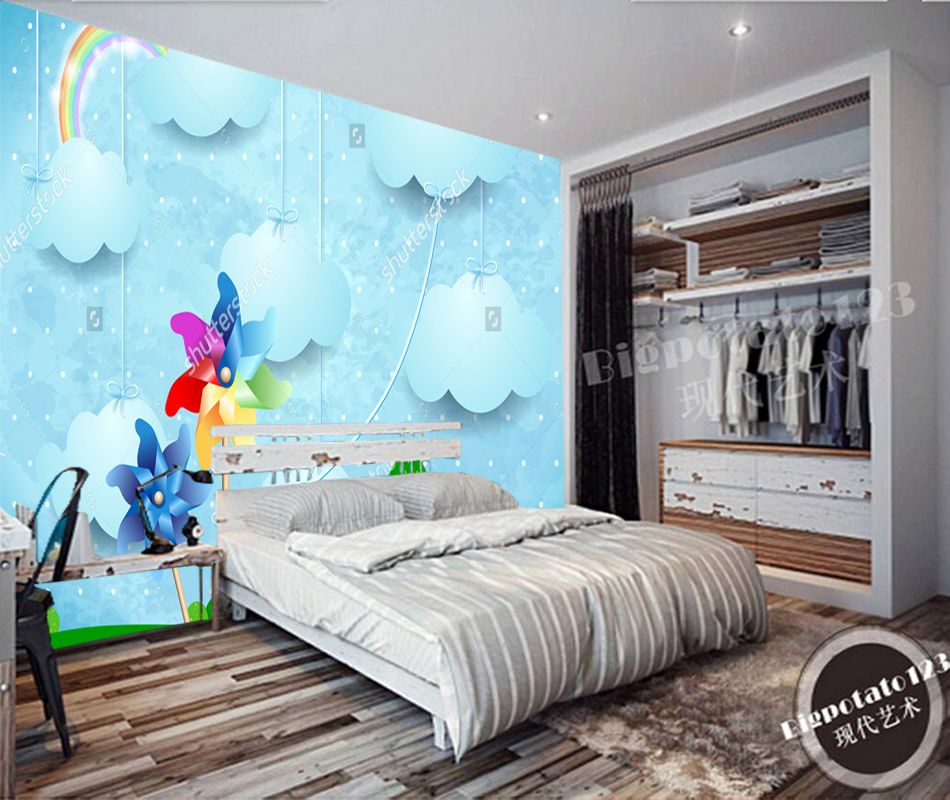 Thế giới Tình yêu - Page 3 Children-Wallpaper-Surreal-landscape-with-pinwheels-and-hanging-clouds-Photo-Mural-for-Boy-and-Girl-Room