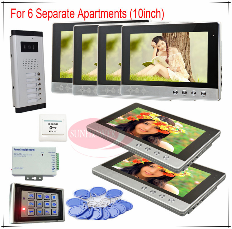 Color Video Door Phones intercom systems For 6 Apartments 10 LCD Indoor unit and 6 keys Security Doorbell+Access control system prasanta kumar hota and anil kumar singh synthetic photoresponsive systems