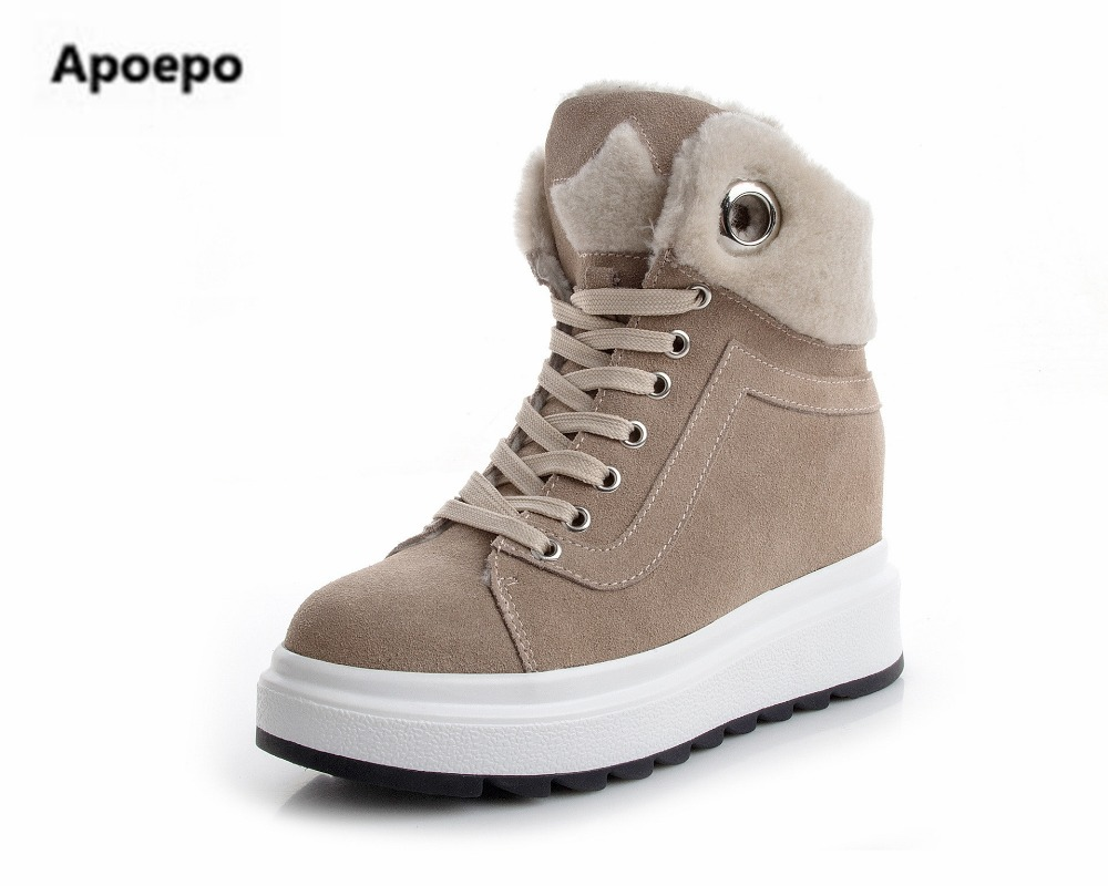 Apoepo black beige shoes women winter lace up height increasing sneakers shoes women Keep warm fur snow boots ankle boots women glowing sneakers usb charging shoes lights up colorful led kids luminous sneakers glowing sneakers black led shoes for boys