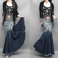 Free Shipping 2017 New Fashion Long Floor Length Denim Jeans Skirts For Women Plus Size S-XL Mermaid Style Skirts With Tassels
