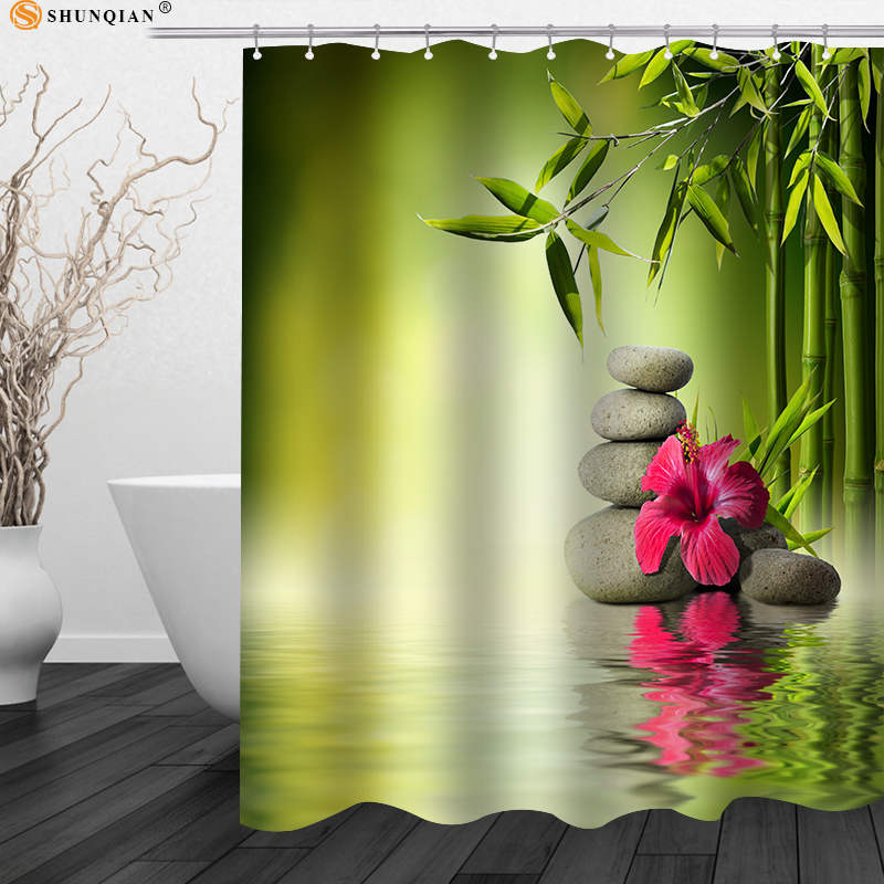 Nice Bamboo Orchid Flowers Shower Curtain Zen Stone Polyester Fabric Curtain Shower Bath Curtain For Bathroom Big Size 180X200cm