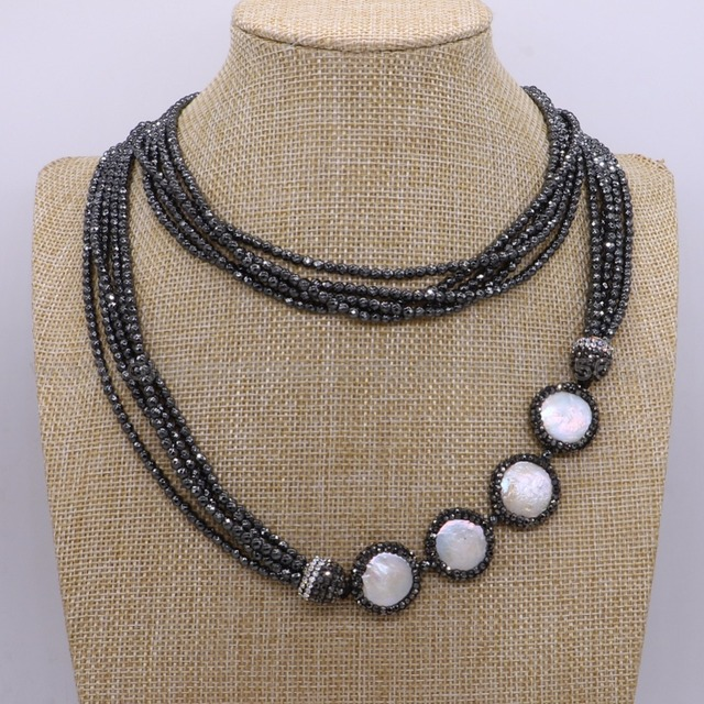 Fashion Layer hematite necklace with long pearls long necklace High quality  fashion jewelry for lady gift f7c35946595e
