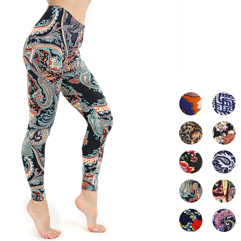 Workout Leggings Women Polyester High Waist Ankle-Length Pants Patchwork Push Up  Female Legging Slim Skinny Leggings Pant