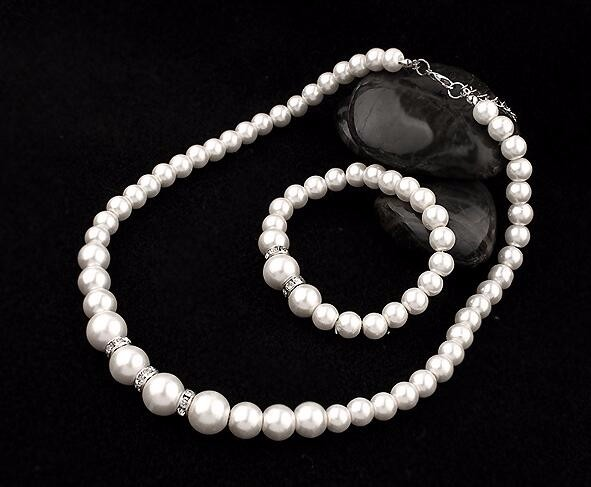 2016 Fashion Classic Imitation Pearl Silver Plated Clear Crystal Top Elegant Party Gift Fashion Costume Pearl Jewelry Sets N85 5