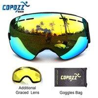 COPOZZ Brand Ski Goggles Double Lens UV400 Anti Fog Unisex Snowboard Ski Glasses With Night Vision