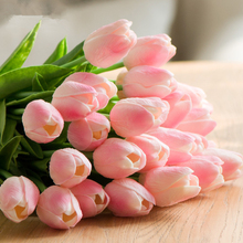 31Pcs/Lot PU Mini Tulip Flower Real Touch Wedding Bouquet Artificial Silk Flowers Decorati At Home