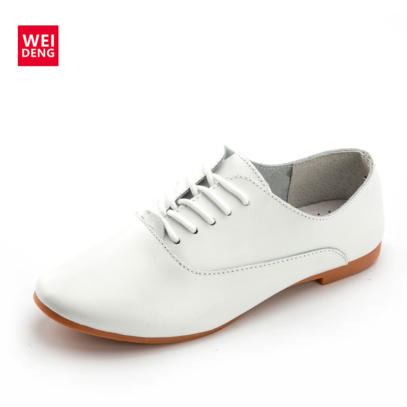 WeiDeng Women Genuine Leather Preppy Style Lace Up Casual Pointed Toe Flat Non Slip Office Lady Soft Fashion Moccasins Shoes fashion brand genuine leather shoes for women casual mother loafers soft and comfortable oxfords lace up non slip flat moccasins