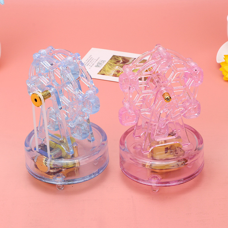 Rotating Ferris wheel Music Box Color Transparent Flash Crystal Music Boxes Clockwork Box Decor Crafts Gifts