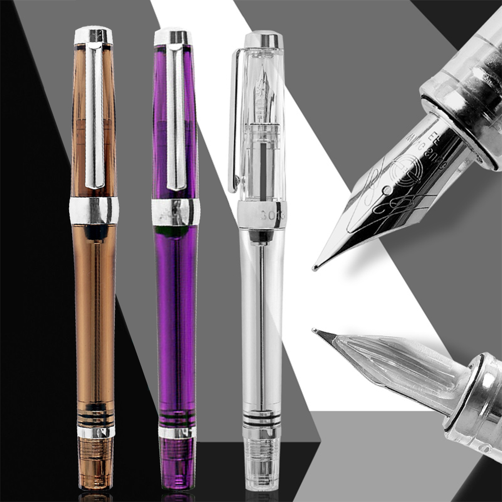 Large Capacity Office Study Ink Fashion Resin Fountain Pen Vaccum Gift Writing Calligraphy EF F Nib Transparent Stationery