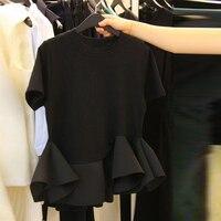 short sleeve T shirt black female 2018 summer wear Korean ulzzang fold falbala tops