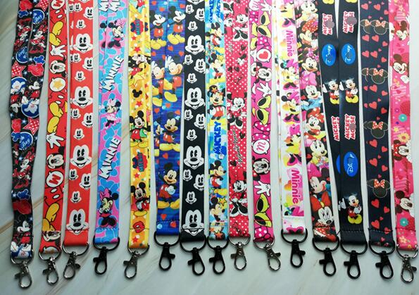 600 Pcs Wholesale lot Minnie Mickey Necklace Strap Lanyards Cell Phone PDA Key ID Strap R56