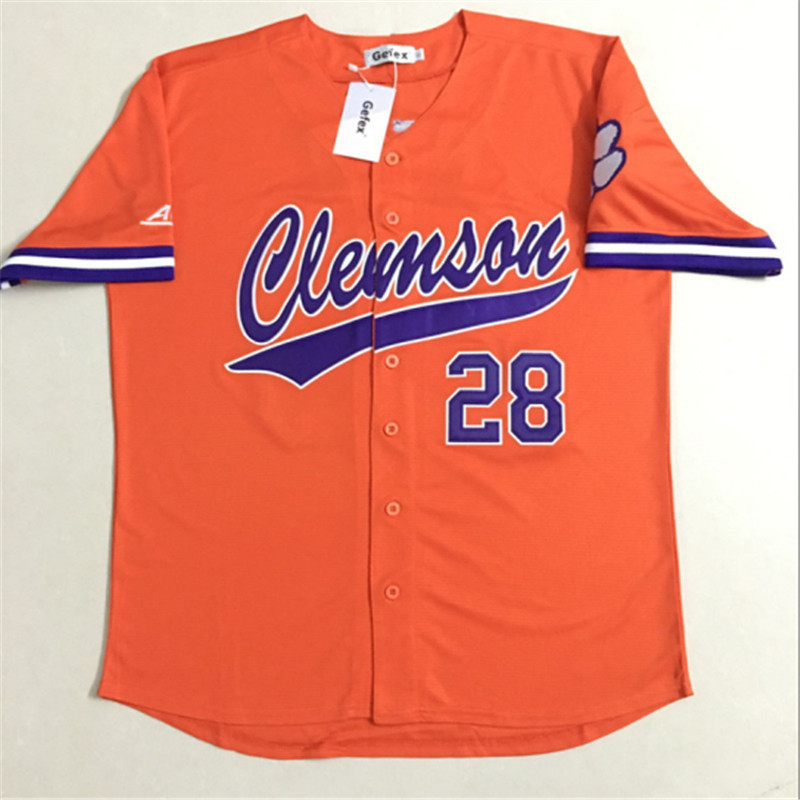 Free shipping Gefex Men's Clemson Tigers Beer 28 baseball personality leisure Jersey white, orange and purple mixed orders ncaa clemson tigers garden flag