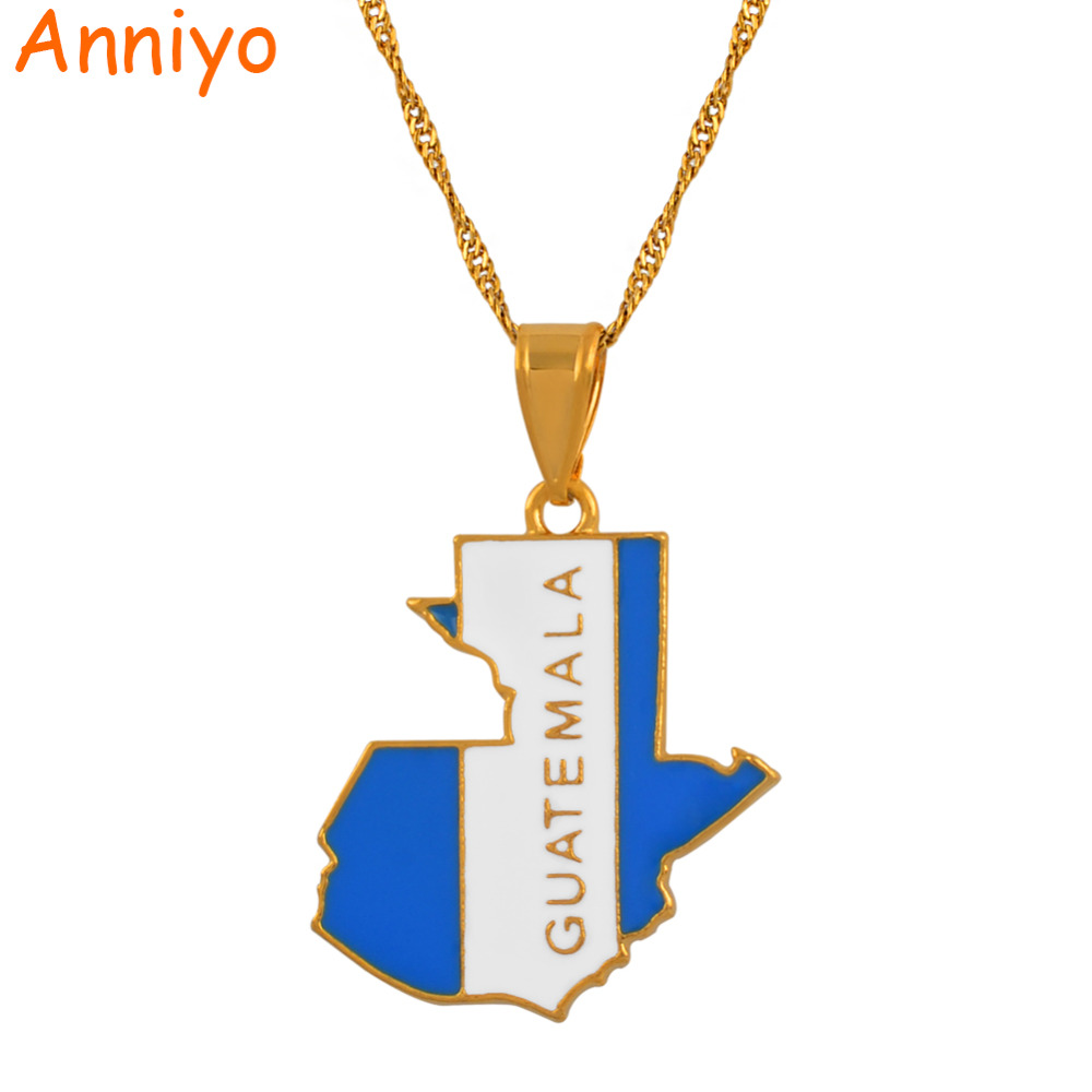 Guatemala Map and Color Flag Pendant Necklaces for Women Jewelry Patriotic Gifts #133406